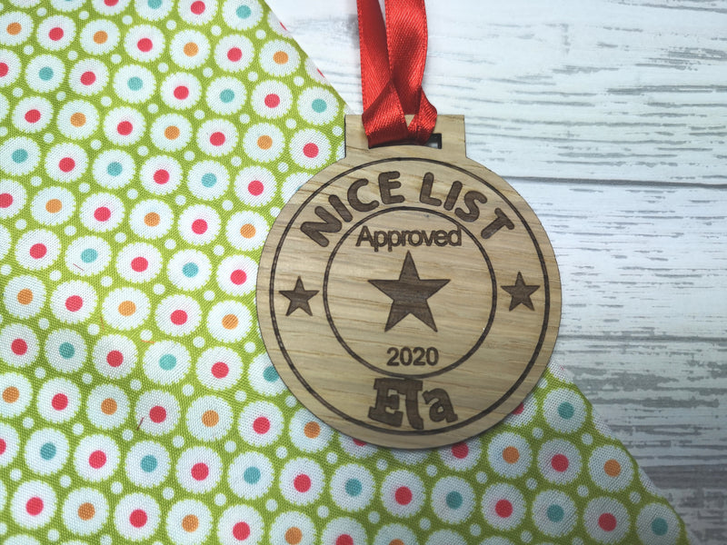 Personalised Christmas Good behaviour Nice list award oak medal gift