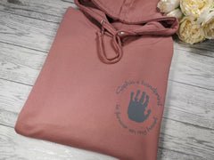Personalised Womens DUSKY PINK hoodie with Child's handprint detail In choice of colours
