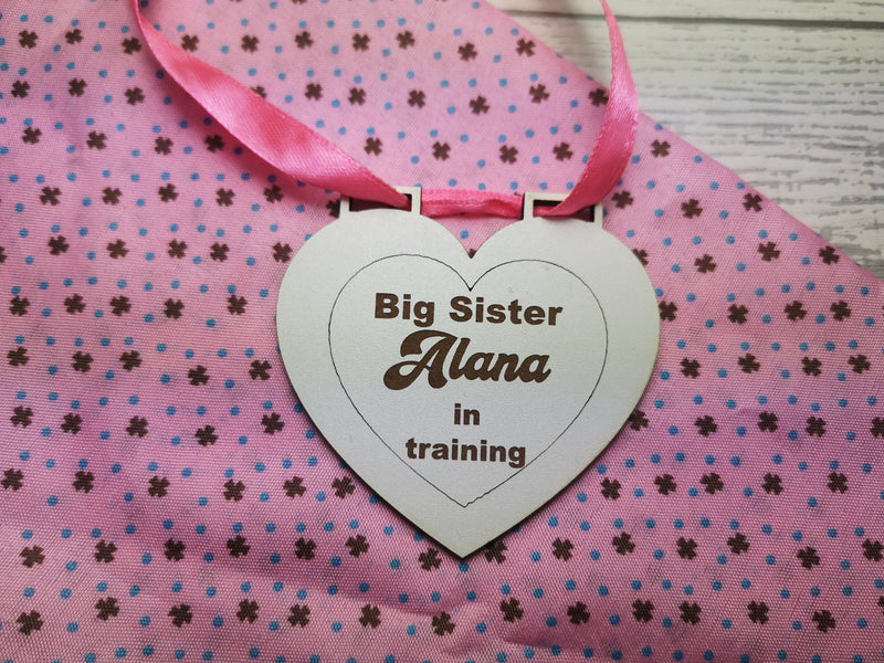Personalised White HEART MDF new Big sister in training star medal