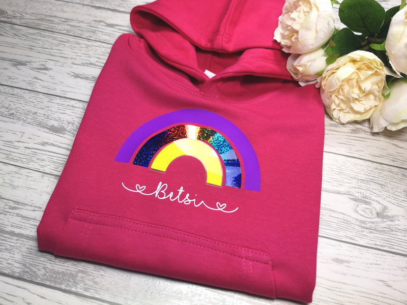 Personalised Kids Pink hoodie with Rainbow detail add a name