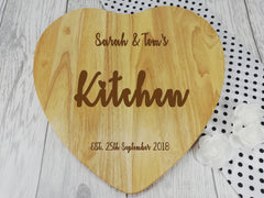 Personalised Engraved Wooden Heart Kitchen Chopping board Wedding Gift Any Name Date