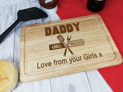 Personalised Engraved Wooden Chopping board Grill Master Any Name Dad