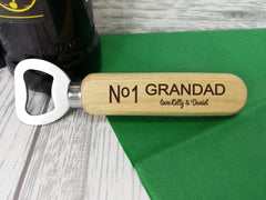 Personalised Engraved wooden beer bottle opener No1 Dad Grandad Gift