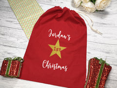 Personalised Small RED 1st Christmas Santa sack bag add a name