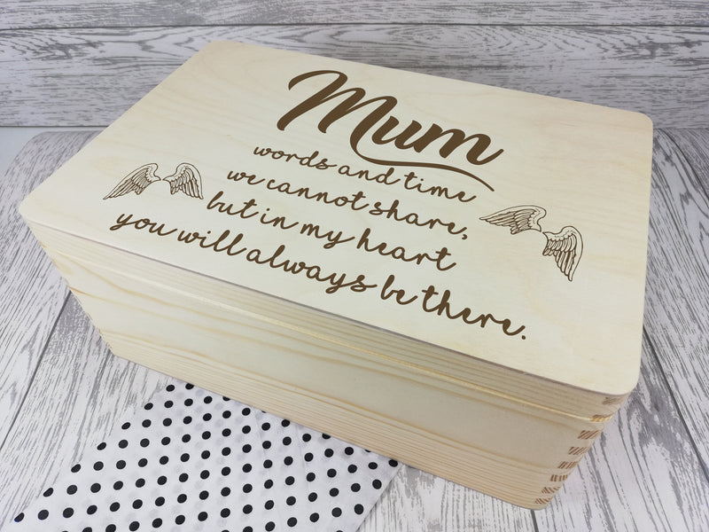 Personalised Remembrance Mum keepsakes Memory box 30cm with handles Any name