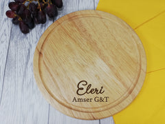 Personalised Engraved Wooden Round Welsh G&T Gin Chopping board