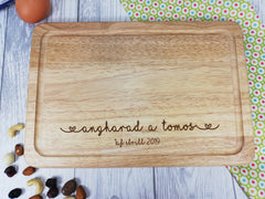 Personalised Engraved Welsh Wooden Chopping board Wedding Any Name and date