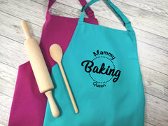 Personalised adults baking queen apron in raspberry or duck egg blue