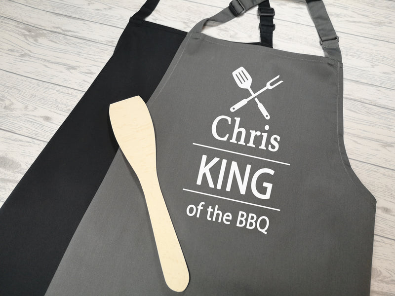 Personalised adults King of the BBQ apron in grey or black