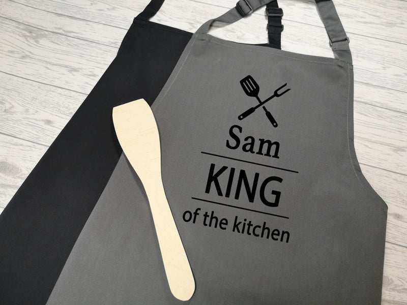 Personalised adults King of the Kitchen apron in grey or black
