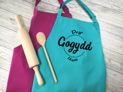 Personalised adult Welsh Prif gogydd apron in raspberry or duck egg blue