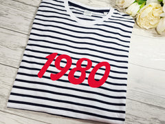 Personalised UNISEX birth year Navy stripy birthday T-shirt Any  year