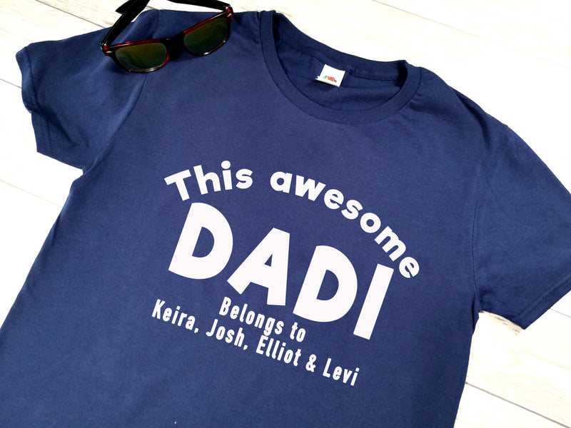 Personalised This awesome Dad belongs to Navy T-shirt for Father's day