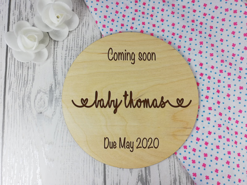 Personalised Engraved wooden Baby Announcement coming soon sign
