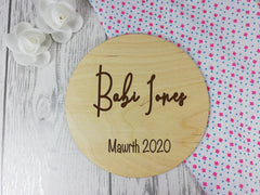 Personalised Engraved wooden Welsh Baby Announcement sign