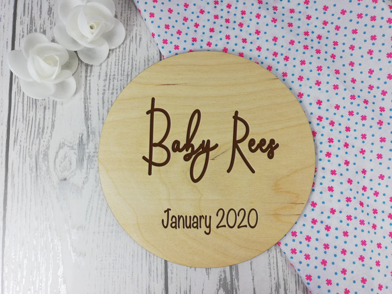 Personalised Engraved wooden Baby Announcement sign