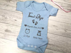 Personalised Baby blue Welsh birth details baby vest