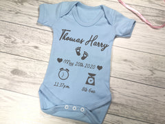 Personalised Baby blue birth details baby vest