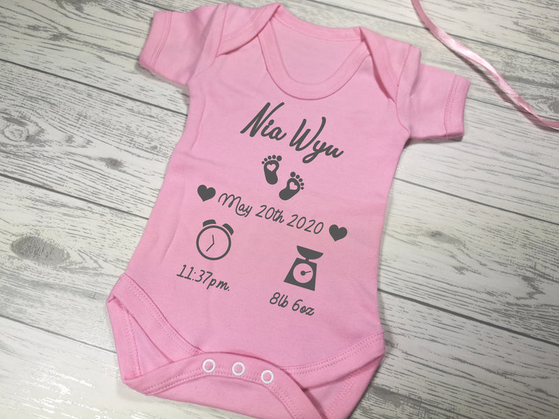 Personalised Baby pink birth details baby vest