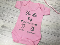 Personalised Baby pink Welsh birth details baby vest