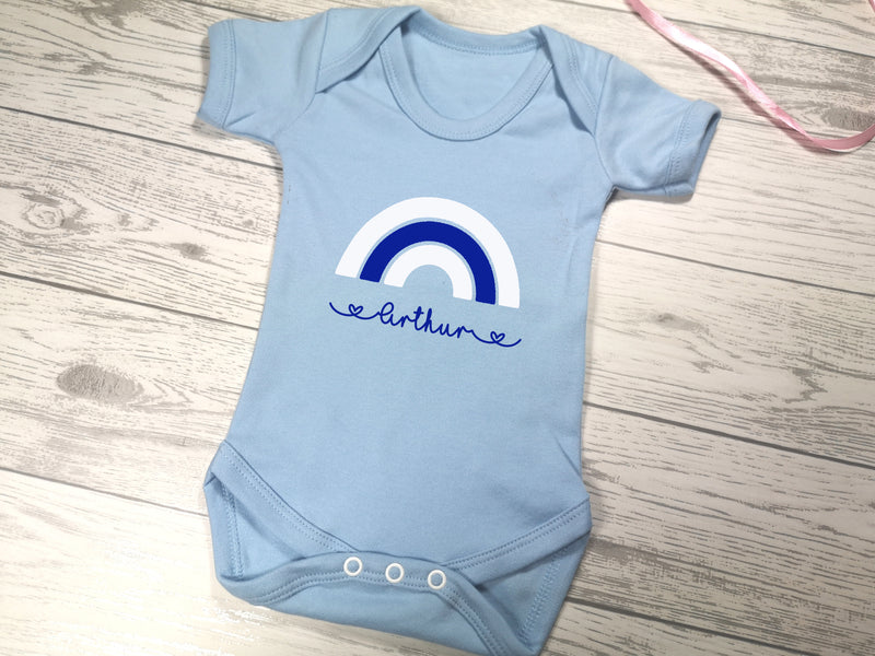 Personalised Rainbow Baby blue Baby vest suit