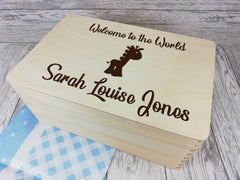 Personalised Giraffe Baby keepsakes Memory box 30cm with handles Any Name