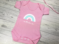 Personalised Rainbow Baby pink Baby vest suit