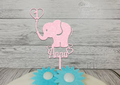 Personalised wooden Baby Elephant birthday cake topper Any name age