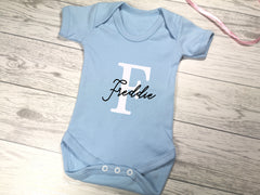 Personalised Baby blue Baby vest suit with letter and name detail
