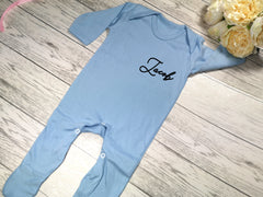 Personalised Baby Blue Baby grow with name  detail