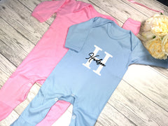 Personalised Baby Blue or pink Baby grow with letter & name detail