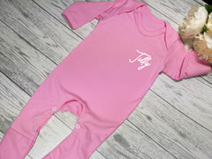 Personalised Baby pink Baby grow with name  detail