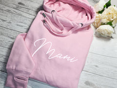 Personalised UNISEX WELSH Baby PINK cross neck hoodie with Any name
