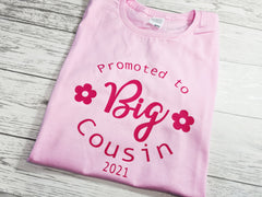Custom Baby PINK Kids Promoted to BIG cousin t-shirt