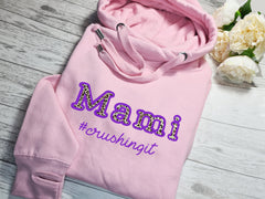 Personalised UNISEX baby PINK cross neck hoodie with name LEOPARD crushing it detail