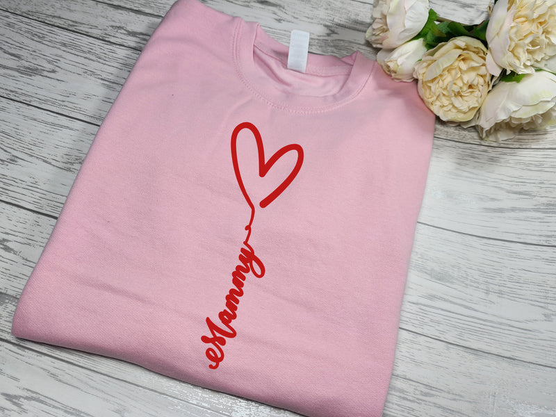 Personalised Unisex  BABY PINK  jumper heart and name detail