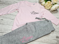 Personalised BABY loungewear set baby pink t-shirt and GREY joggers with fancy name detail