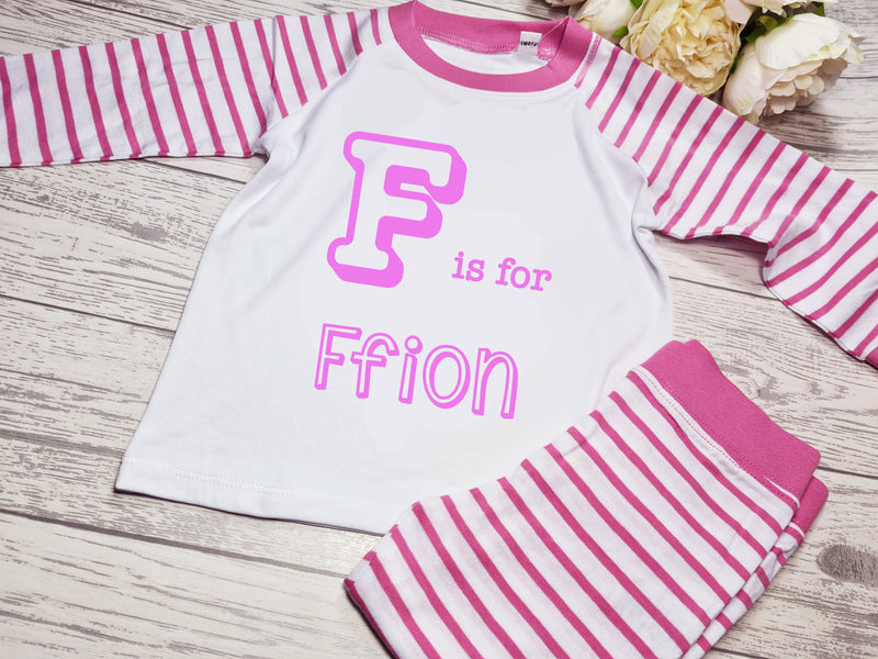 Personalised PINK Birthday Baby / Kids pyjamas with letter is for name detail