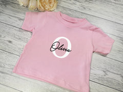 Personalised Baby pink Baby t-shirt with letter and name detail
