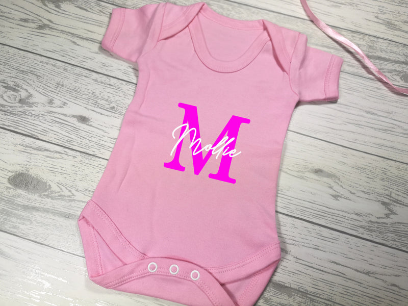 Personalised Baby pink Baby vest suit with letter and name detail
