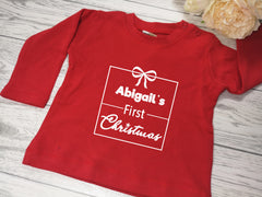 Personalised Baby RED t-shirt First Christmas detail in a choice of colours