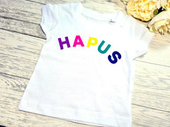 Custom Kids white t-shirt with rainbow HAPUS HAPPY or CWTSH detail choice of colour detail