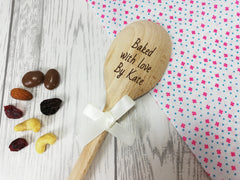 Personalised Engraved  Baked with Love by Wooden Spoon Any name