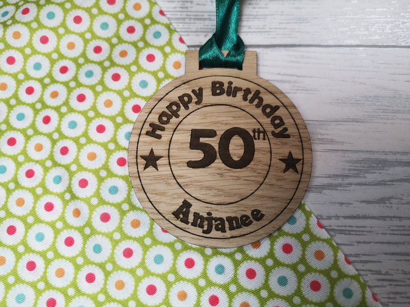 Personalised Happy Birthday oak medal any name and age gift