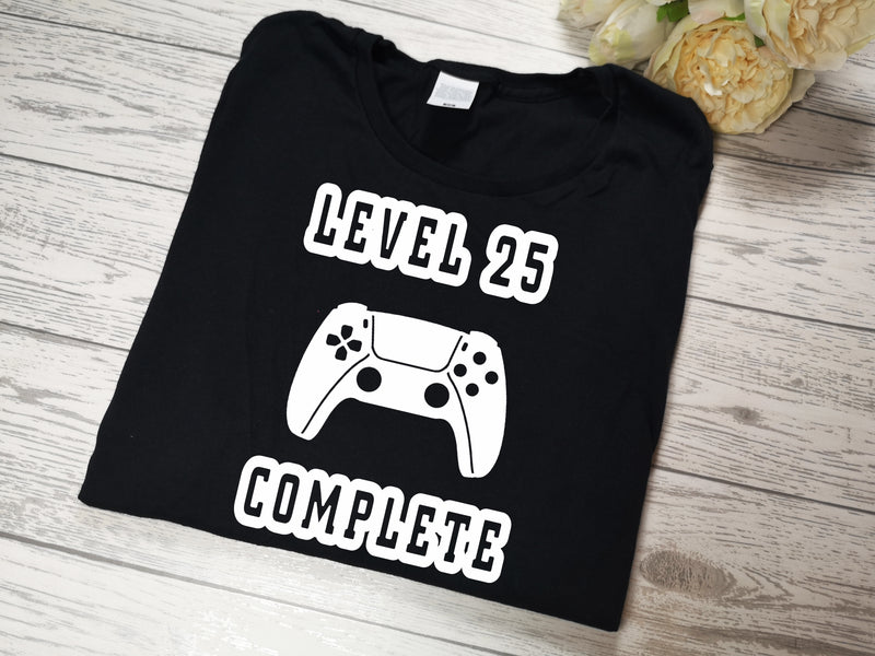 Personalised BLACK Birthday gaming t-shirt any age detail