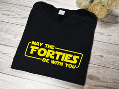 Personalised mens' BLACK Birthday May the 'age' be with you t-shirt any age detail