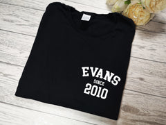Personalised Women's BLACK t-shirt Surname since year detail
