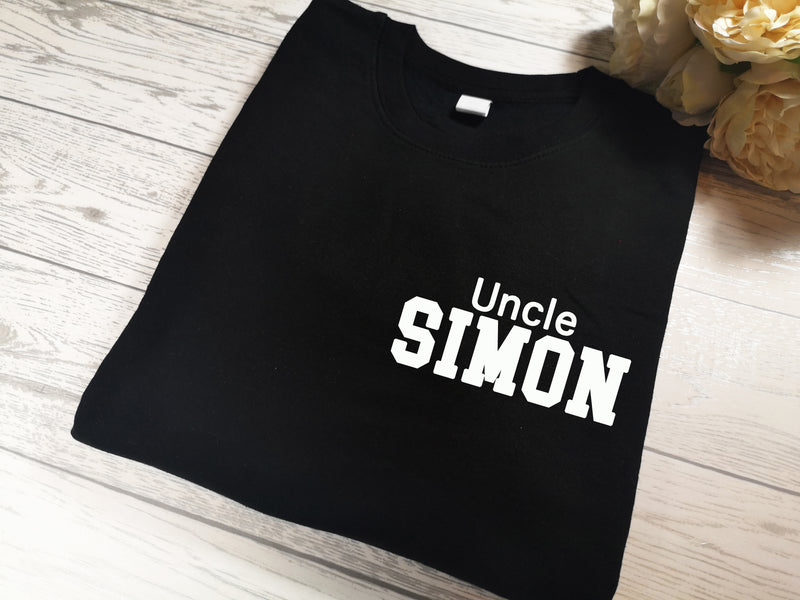 Personalised BLACK Uncle t-shirt with name detail