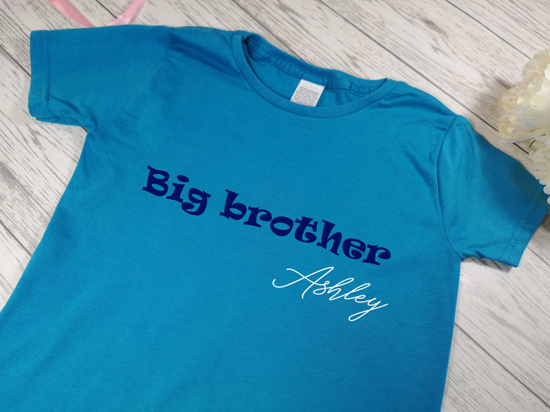 Personalised Kids Blue Big brother t-shirt with name detail