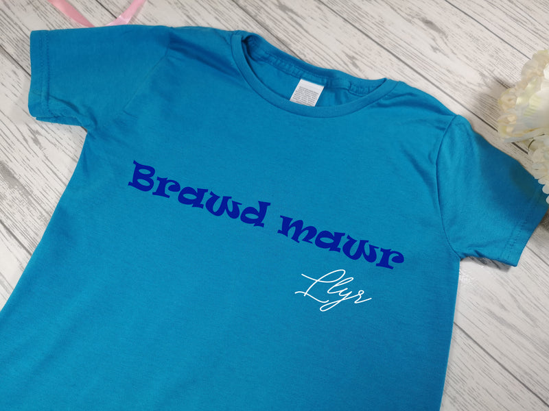 Personalised Kids Blue Welsh Brawd mawr t-shirt with name detail